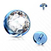 Modrý microdermal piercing - ozdobná část