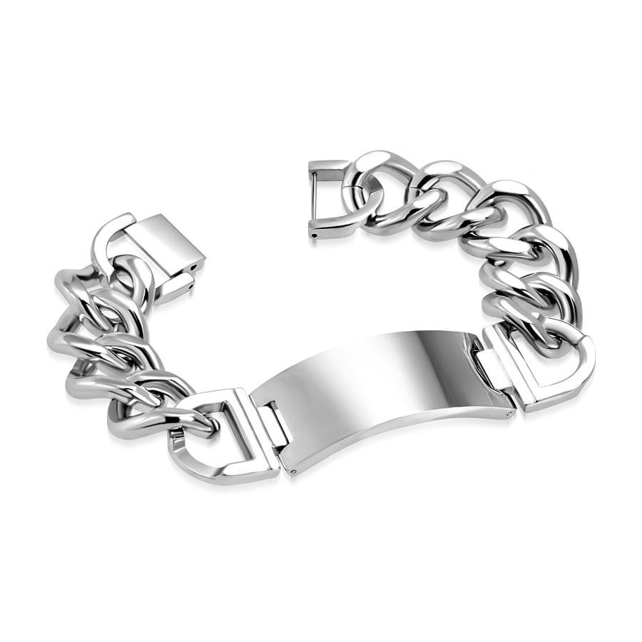 26df23cff Mohutný pánský ocelový náramek s destičkou | Šperky4U.eu