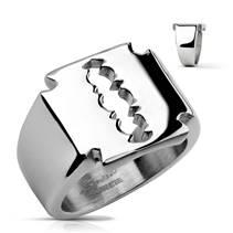 Mohutný pánský ocelový prsten - žiletka