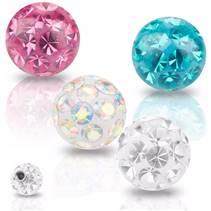 Náhradní kulička s krystaly Swarovski®, 6 mm, závit 1,6 mm