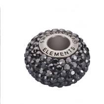 Navlékací přívěšek korálek s krystaly Swarovski®, Jet Hematite