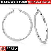 Ocelové náušnice - kruhy 33 mm