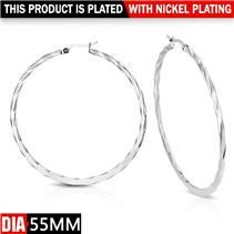Ocelové náušnice - kruhy 55 mm