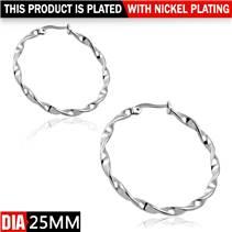 Ocelové náušnice - kruhy kroucené 25 mm