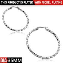 Ocelové náušnice - kruhy kroucené 35 mm