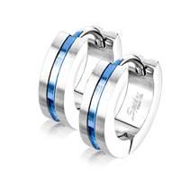 Ocelové náušnice kruhy, barva modrá