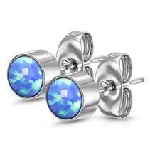 Ocelové náušnice s modrými opály 5 mm