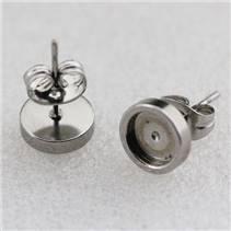 Ocelové náušnicové lůžko 6 mm - puzeta - 1 kus
