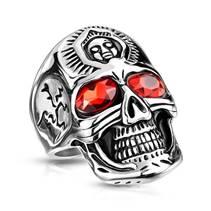Ocelový motorkářský prsten - lebka, vel. 62