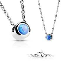 Ocelový náhrdelník s opálem modré barvy