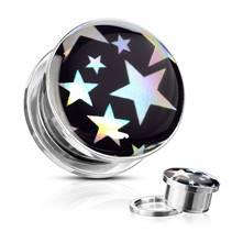 Ocelový plug s hvězdami, průměr 8 mm