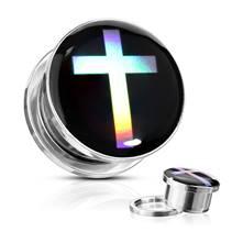 Ocelový plug s křížem