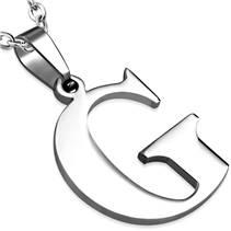 Ocelový přívěšek - písmeno - iniciála G