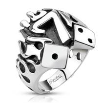 Ocelový prsten - hrací kostky