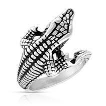 Ocelový prsten - krokodýl, vel. 62