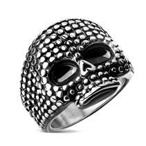 Ocelový prsten - lebka