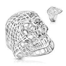 Ocelový prsten - lebka drátěná