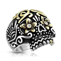 Ocelový prsten - lebka s ornamenty