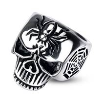 Ocelový prsten - lebka, vel. 65