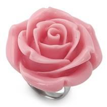 Ocelový prsten - růže světle růžová