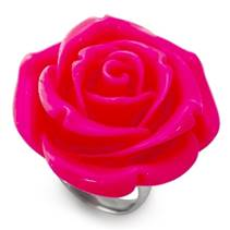 Ocelový prsten - růže tmavě růžová