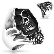 Ocelový prsten - smrtka
