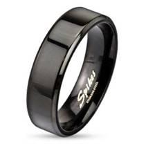 Ocelový prsten černý, š. 6 mm