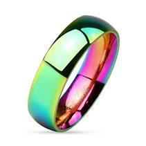 Ocelový prsten duhový, šíře 6 mm