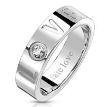 Ocelový prsten LOVE se zirkonem