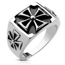 Ocelový prsten maltézský kříž