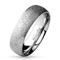 Ocelový prsten pískovaný, šíře 6 mm