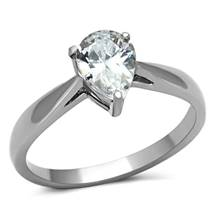 Ocelový prsten s čirým zirkonem ve tvaru kapky