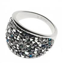 Ocelový prsten s krystaly Swarovski®, BERMUDA BLUE PEPPER