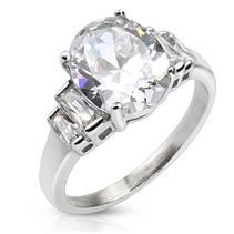 Ocelový prsten se zirkony, vel. 52