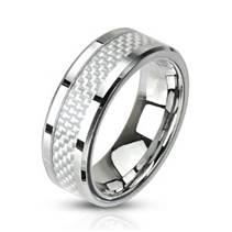 Ocelový prsten zdobený karbonem, šíře 6 mm