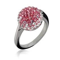 Ocelový prsten zdobený růžovými krystaly, vel. 57