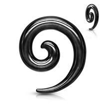 Ocelový roztahovák do ucha - spirála černá