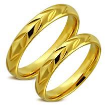 OPR0024 Zlacené ocelové snubní prsteny - pár