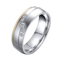 OPR0042 Dámský ocelový snubní prsten se zirkony