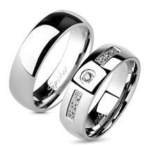 OPR0094 + OPR1234 Ocelové snubní prsteny - pár