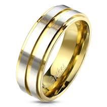 OPR1764 Pánský snubní ocelový prsten s pruhy