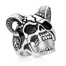 Pánský ocelový prsten - lebka s rohy, vel. 62