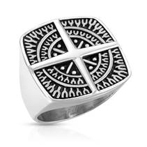 Pánský ocelový prsten kompas, vel. 62