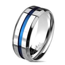 Pánský ocelový prsten s modrým pruhem
