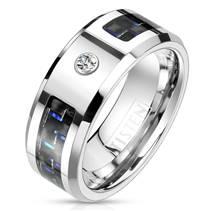 Pánský prsten tisten, modrý karbon