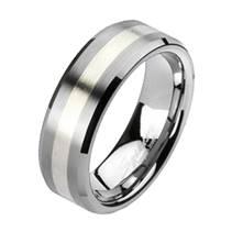 Pánský prsten wolfram + stříbro, šíře 7 mm, vel. 67