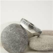 Pánský snubní prsten damasteel ocel - PRIMA duo s linkou