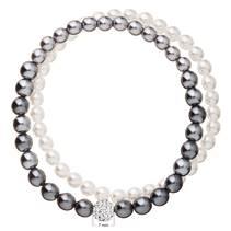 Perlový náramek bílá šedá