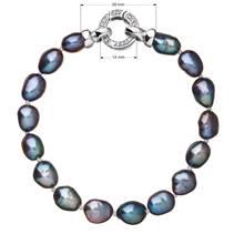 Perlový náramek z pravých říčních perel modrý