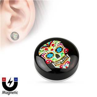 Piercing - magnetický plug do ucha, sweet scull